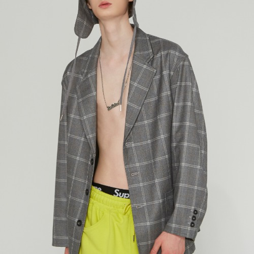 3 BUTTON CHECK JACKET_GREY