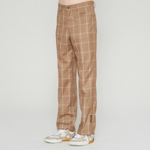POINT LOGO CHECK SLACKS_BROWN