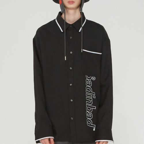 ZIPPER LINING LOGO SHIRT_BLACK