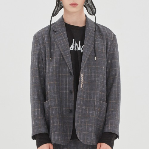CANABY STREET CHECK JACKET_CHARCOAL