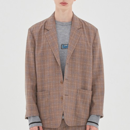 CANABY STREET CHECK JACKET_BEIGE