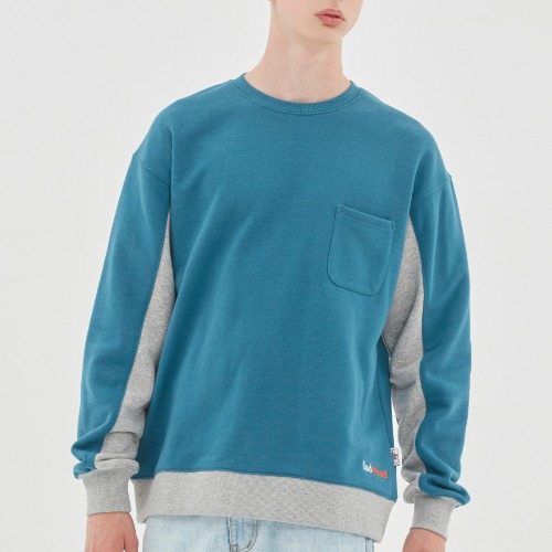 FRONT POCKET SPORTS SWEATSHIRT_BLUE GREEN