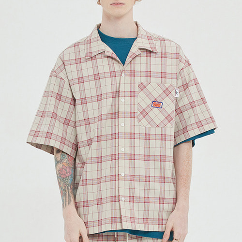 SQUARE CHECK HALF SHIRT_OATMEAL