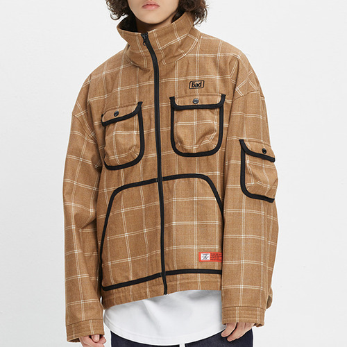ICONIC CHECK JACKET_BROWN