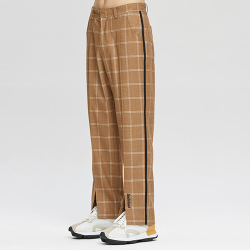 CUT OPEN CHECK PANTS_BROWN