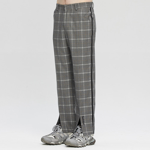 CUT OPEN CHECK PANTS_GREY