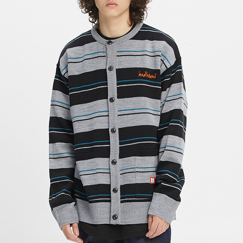 STRIPED KNITTED CARDIGAN_GREY