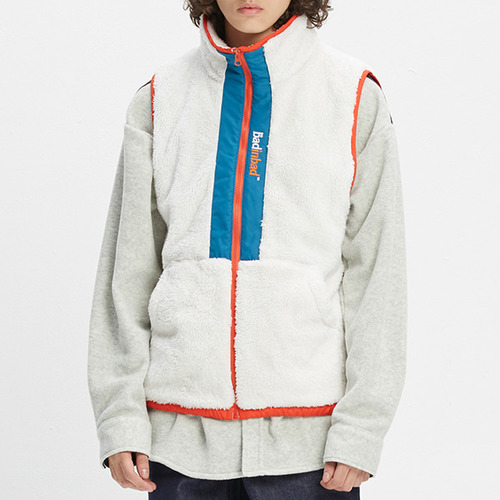 COLOR BLOCK FLEECE VEST_OATMEAL