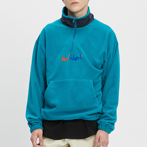 FLEECE HALF ZIP UP JUMPER_BLUE GREEN