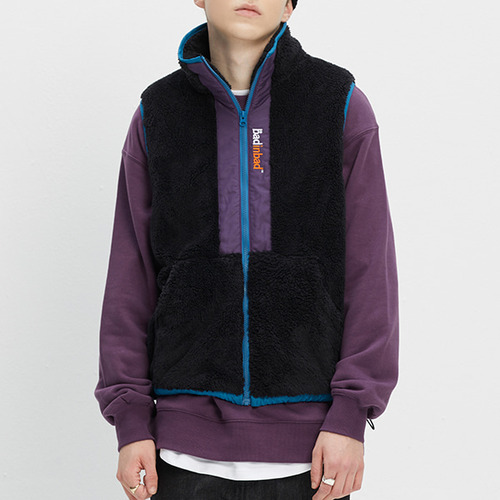 COLOR BLOCK FLEECE VEST_BLACK