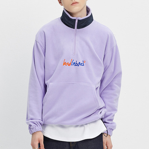 FLEECE HALF ZIP UP JUMPER_LIGHT PURPLE