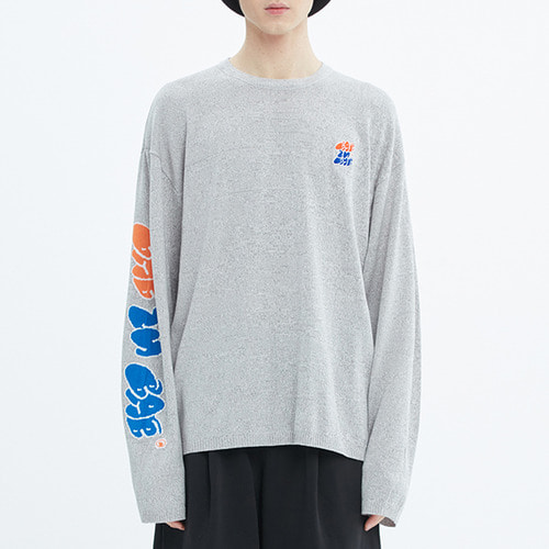 FAT LOGO LAYERED KNIT_GREY