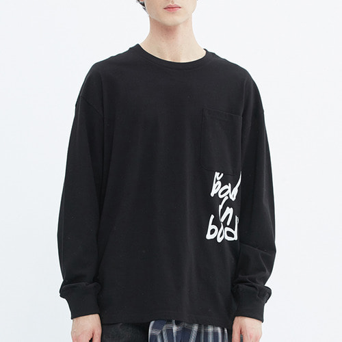 SCRIBBLE LOGO POCKET LONG SLEEVE_BLACK