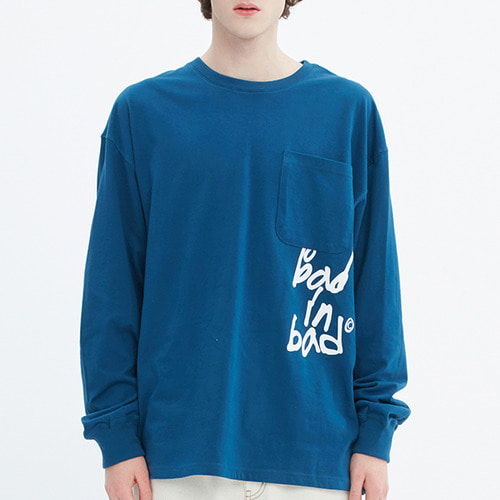 SCRIBBLE LOGO POCKET LONG SLEEVE_BLUE