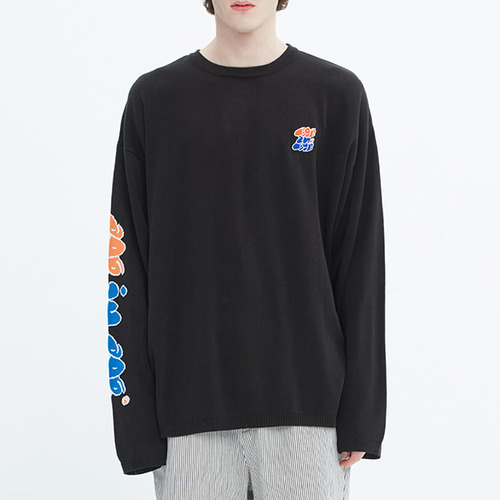 FAT LOGO LAYERED KNIT_BLACK